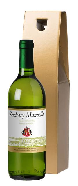 personalised french ac sunderland corporate white wine vineyard in a gold giftbox