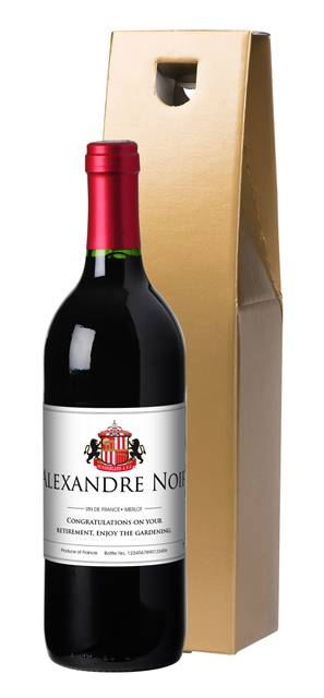 personalised french vdp sunderland corporate red wine classic in a gold giftbox