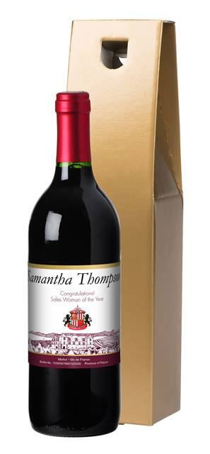 personalised french vdp sunderland corporate red wine vineyard in a gold giftbox