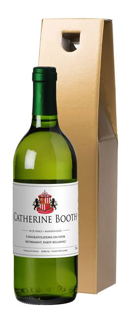 personalised french vdp sunderland corporate white wine classic in a gold giftbox