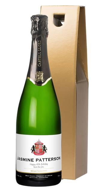 personalised sunderland corporate cava classic in a gold giftbox