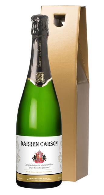 personalised sunderland corporate cava traditional in a gold giftbox