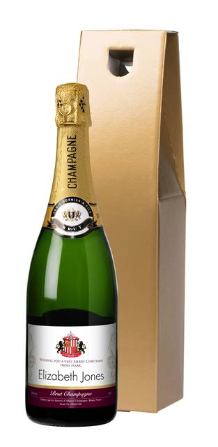 personalised sunderland corporate champagne gold swirls in a gold giftbox