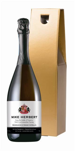 personalised sunderland corporate prosecco classic in a gold giftbox