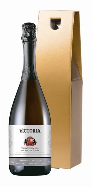 personalised sunderland corporate prosecco traditional in a gold giftbox