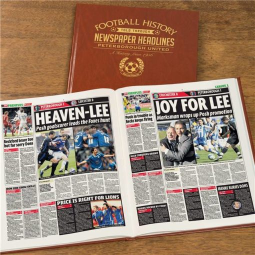 peterborough newspaper book brown leatherette colour pages
