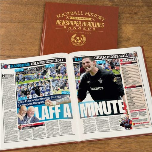rangers newspaper book brown leatherette colour pages