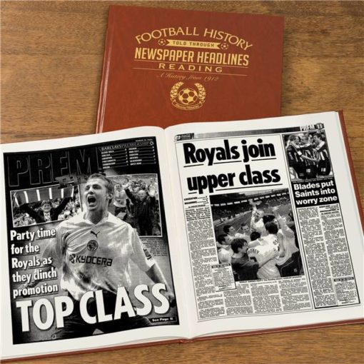 reading newspaper book brown leatherette
