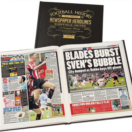 sheffield united newspaper book black leather cover