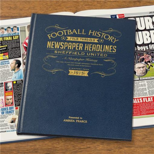 sheffield united newspaper book blue leather cover