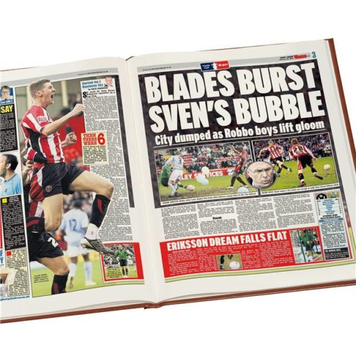 sheffield united newspaper book brown leatherette colour pages