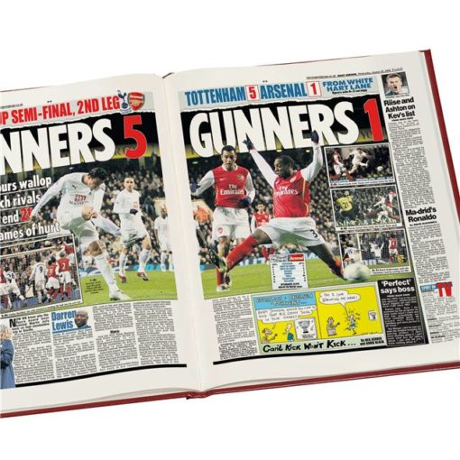 spurs v arsenal derby newspaper book red leather cover
