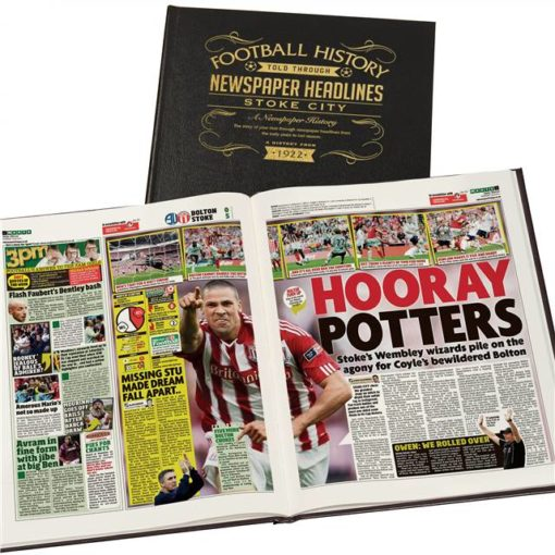 stoke city newspaper book black leather cover