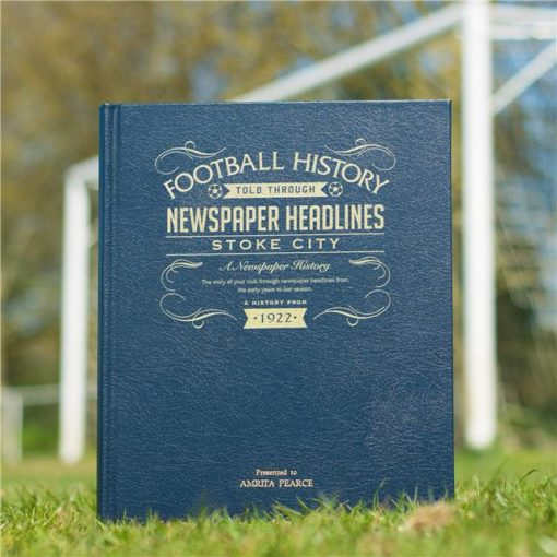 stoke city newspaper book blue leather cover