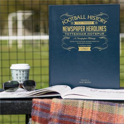 tottenham hotspur newspaper book blue leather cover