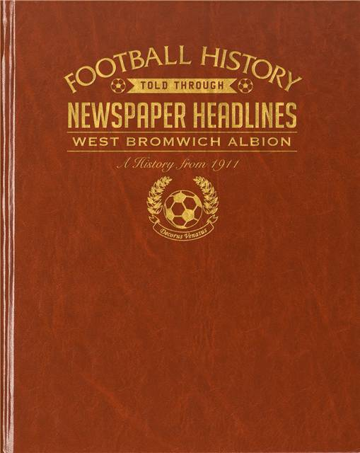 west bromwich albion newspaper book brown leatherette