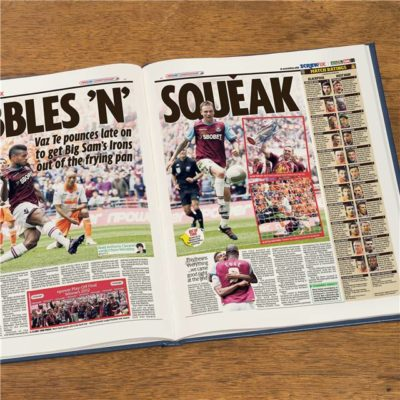 west ham newspaper book blue leather cover