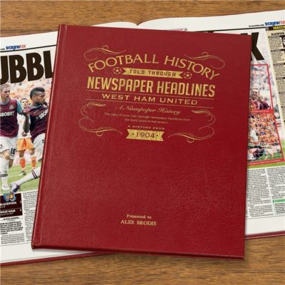 west ham newspaper book red leather cover