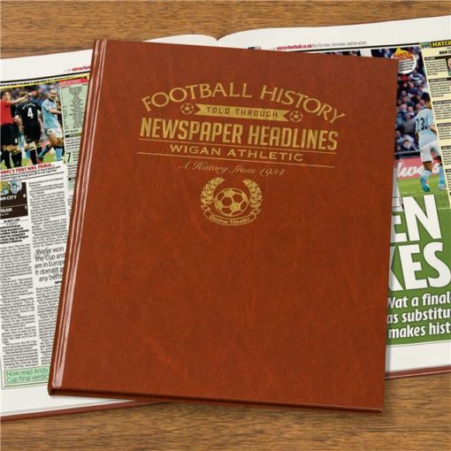 wigan athletic newspaper book brown leatherette colour pages