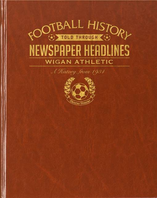 wigan athletic newspaper book brown leatherette