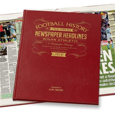 wigan athletic newspaper book red leather cover