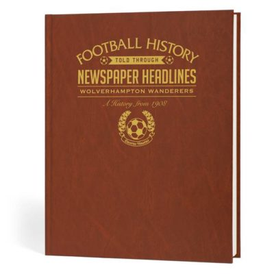 wolves newspaper book brown leatherette