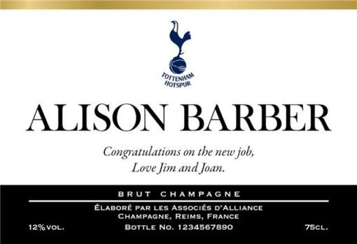 personalised classic spurs labels for champagne