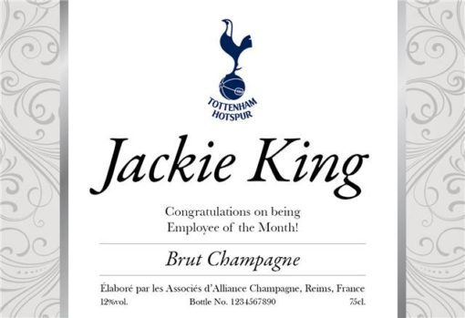 personalised spurs silver design labels for champagne