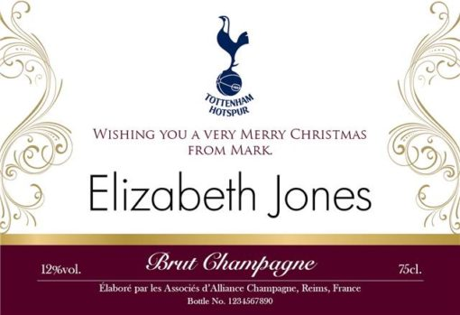 spurs gold design personalised labels for champagne