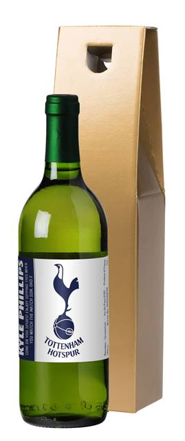 personalised spurs french vdp white wine simply in a gold box