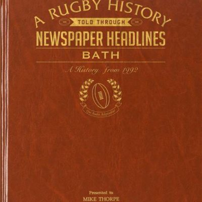 bath rugby newspaper book brown leatherette