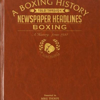 boxing newspaper book brown leatherette