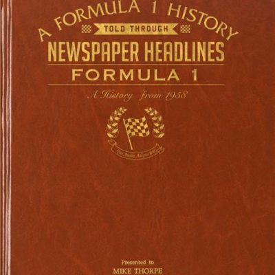 formula one newspaper book brown leatherette colour pages