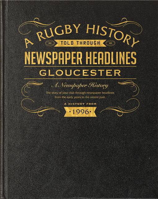 gloucester rugby newspaper book black leather cover