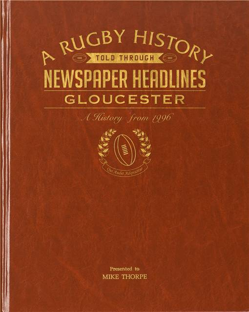 gloucester rugby newspaper book brown leatherette