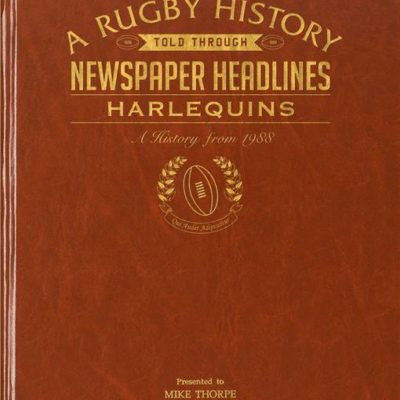 harlequins rugby newspaper book brown leatherette