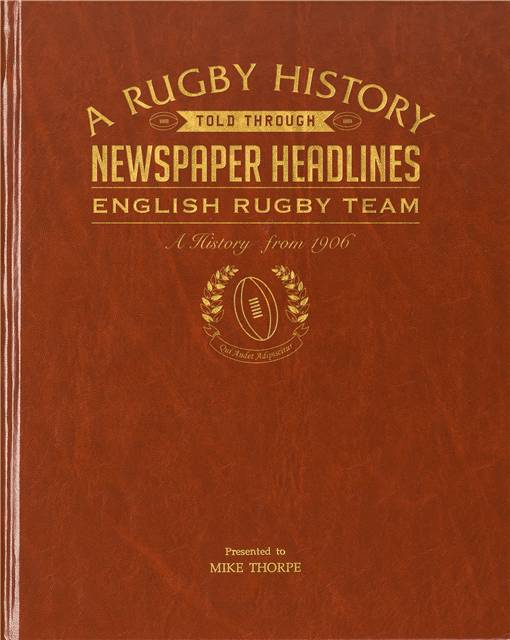 history of english rugby newspaper book brown leatherette