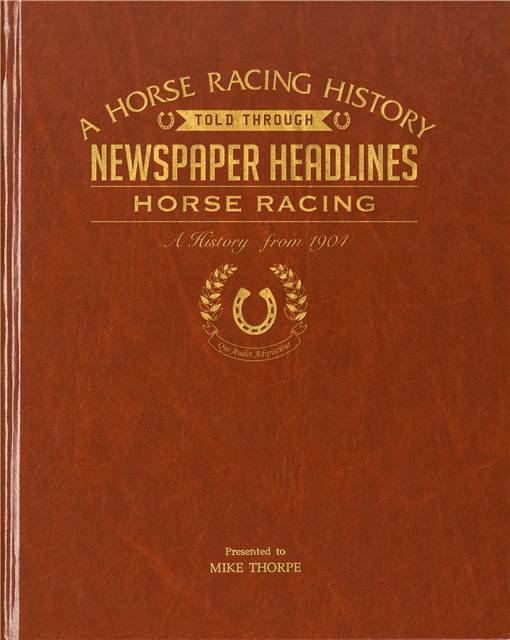 horse racing newspaper book brown leatherette colour pages