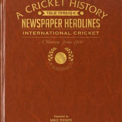 int cricket newspaper book brown leatherette