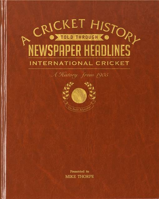 int cricket newspaper book brown leatherette colour pages