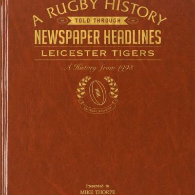 leicester tigers rugby newspaper book brown leatherette