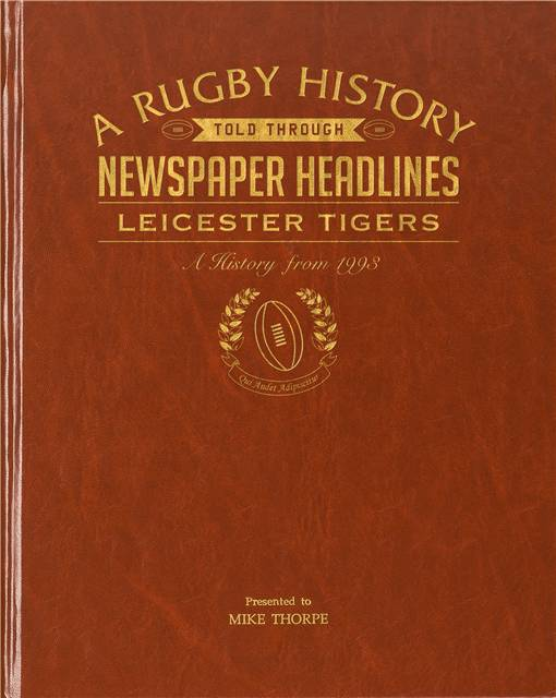 leicester tigers rugby newspaper book brown leatherette colour pages