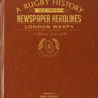 london wasps rugby newspaper book brown leatherette