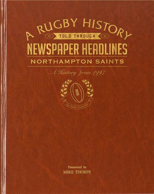 northampton rugby newspaper book brown leatherette colour pages