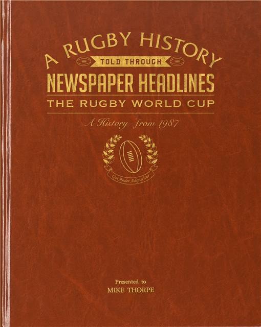 rugby world cup newspaper book brown leatherette