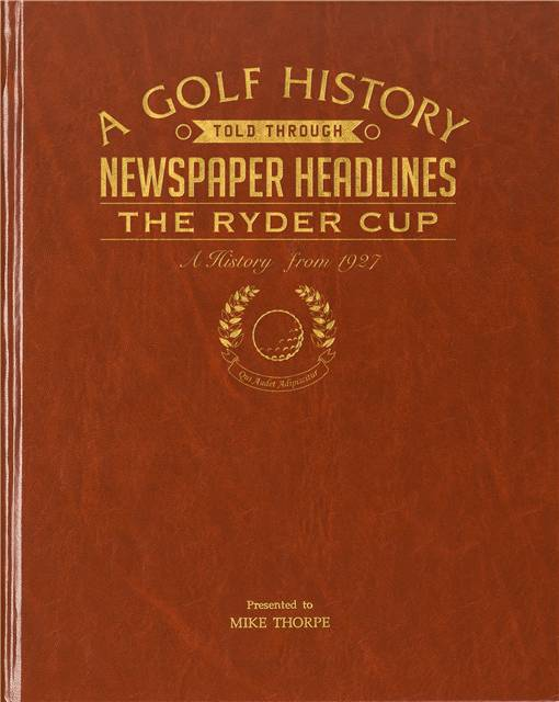 ryder cup golf newspaper book brown leatherette
