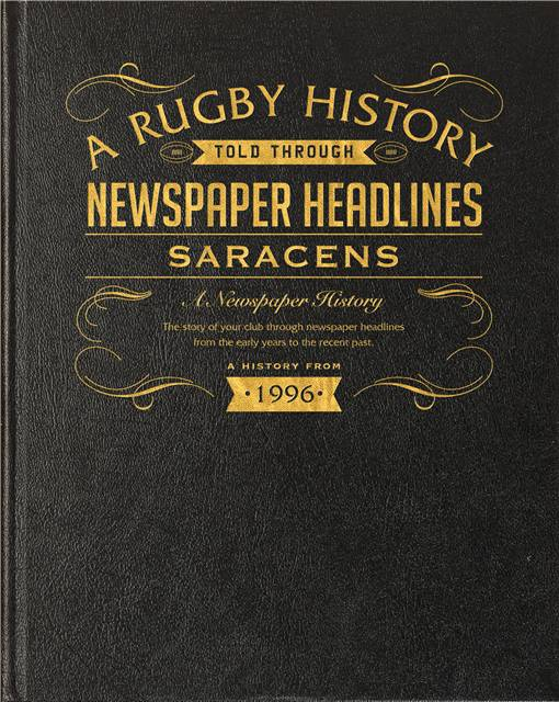 saracens rugby newspaper book black leather cover