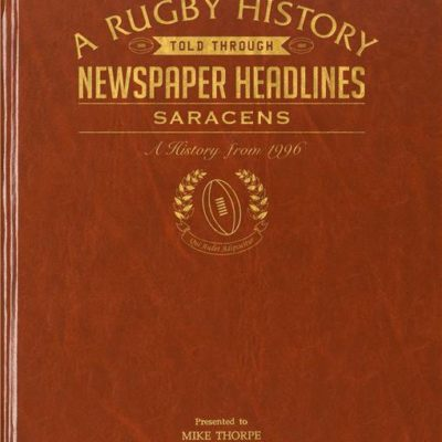 saracens rugby newspaper book brown leatherette colour pages