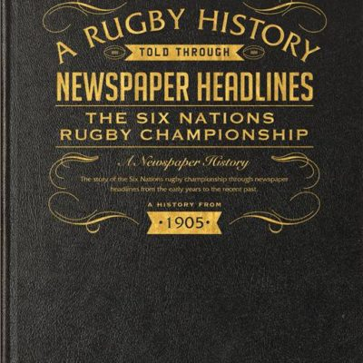 six nations rugby newspaper book black leather cover