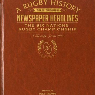 six nations rugby newspaper book brown leatherette colour pages